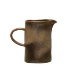 """Brown Reactive Glaze Stoneware Pitcher H4.75"""""""