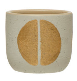 Stoneware Planter with Gold Design D3""