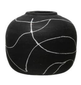 """Black & White Round Vase H6.5"""""""