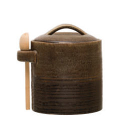 """Stoneware Canister with Spoon H5.25"""""""