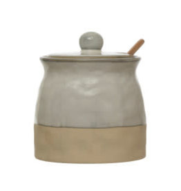 Reactive Glaze Sugar Pot with Spoon H4.5""