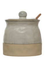 "Reactive Glaze Sugar Pot with Spoon H4.5"""
