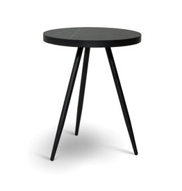 "Black Marble Florence Table D18"" H22"""