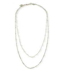 White Opal Silver Bailey Double Layered Necklace