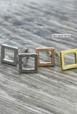 Open Square Earring - Silver
