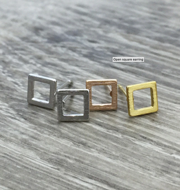 Open Square Earring - Silver