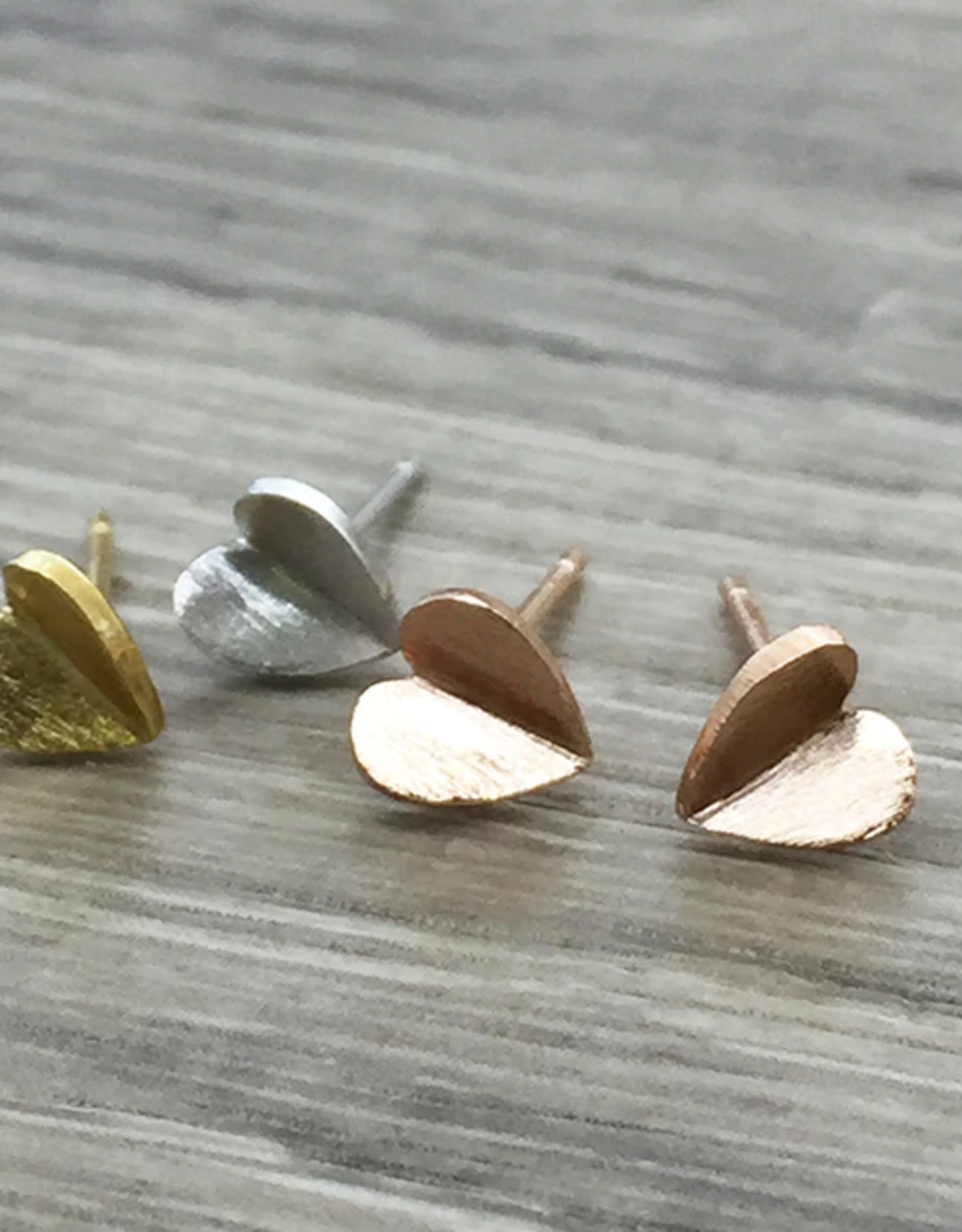 Folded Heart Earrings- Gold