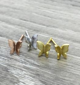 Folded Butterfly Earrings - Silver