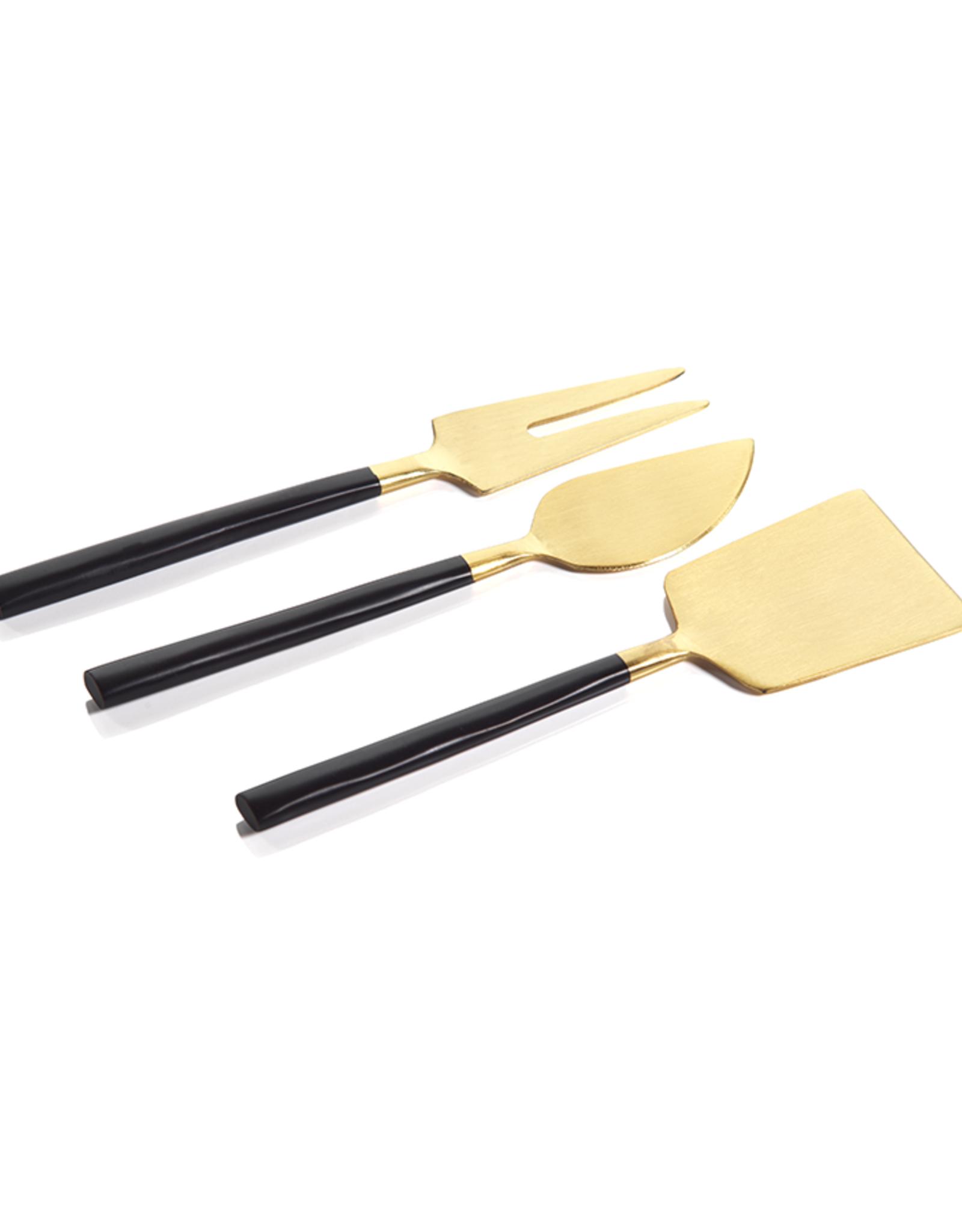 Maxfield Black & Gold Cheese Set