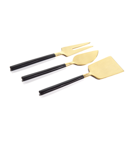 Maxfield Black & Gold Cheese Set