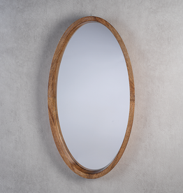 "Mango Wood Oval Mirror L30"" W16.5"""
