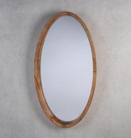 "Mango Wood Oval Mirror L30"" W16.5"""