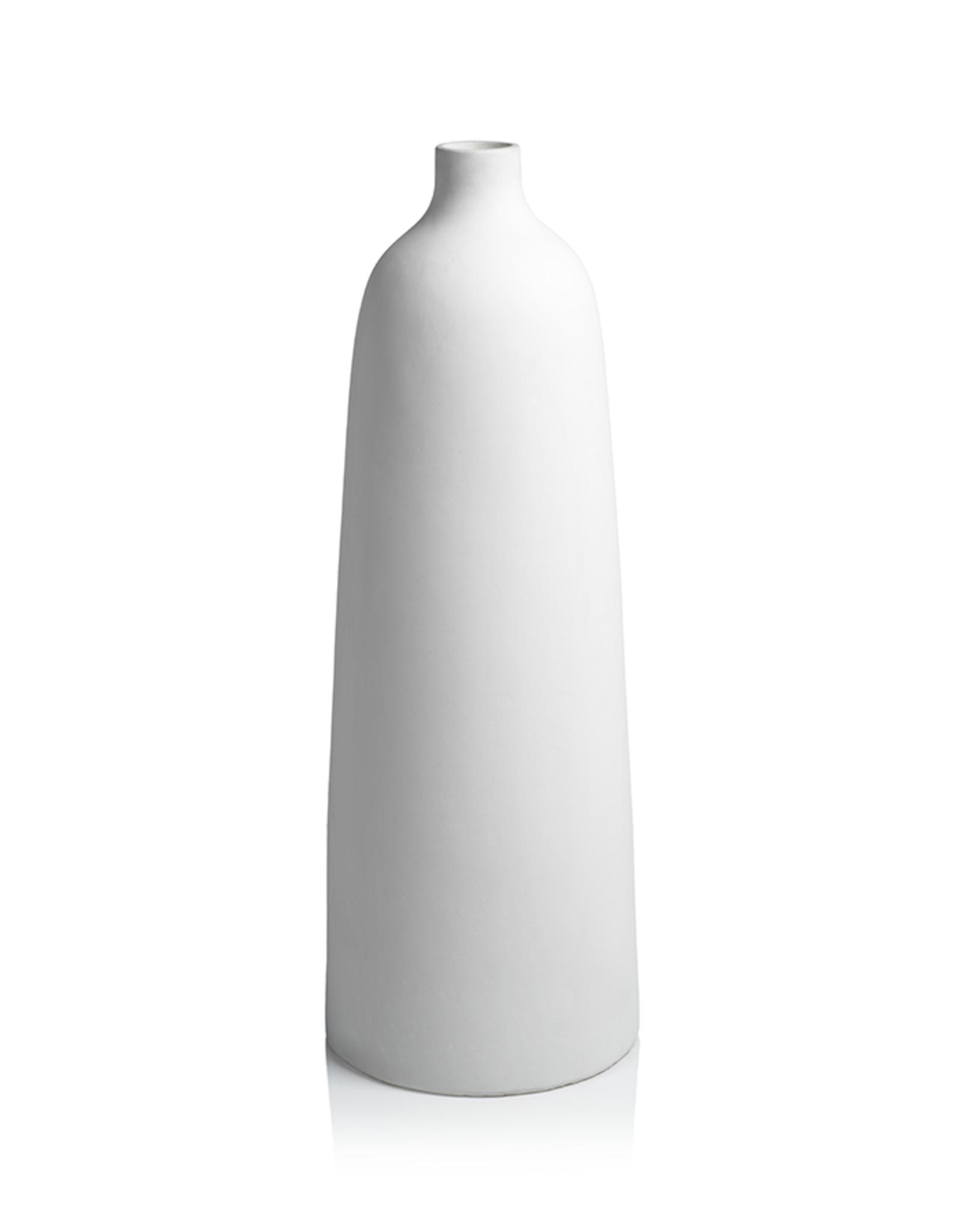 "Bari White Earthenware Vase H31.5"" W11"""