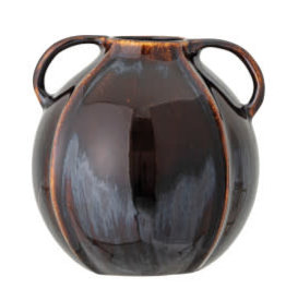 Blue / Brown Reactive Glaze Vase with Handle H6""