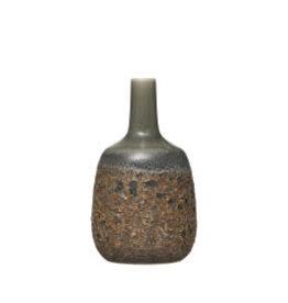 "Green Vase with Reactive Crackle Vase H8"""