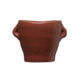 Brown Reactive Glaze Planter with Handles D3.25""