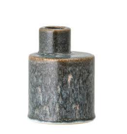 "Cream / Blue Stoneware Taper Holder H4"""