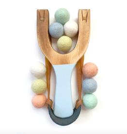 Cloud Blue Wood Slingshot with Pastel Rainbow Felt Balls