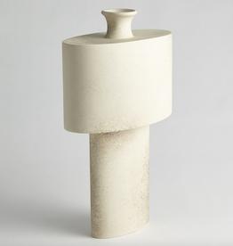 "Portuguese Ceramic Folk Oval Drum Vase L11.5""  W6"" H20"""