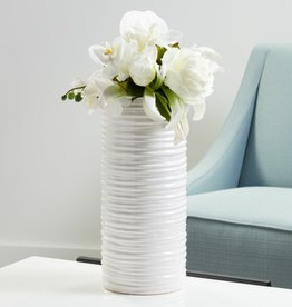 "White Ripple Ceramic Cylinder Vase H13.75"""