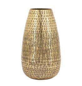 """Gold Inca Hammered Aluminum Vase H12"""""""