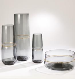 "Medium Grey Ribbon Wrapped Vase H 16"" D 6.25"""