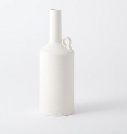 """Small Matte White Metro Bottle H 13.5"""" D 4.75"""""""