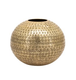 Gold Inca Hammered Aluminum Ball Vase D8.5""