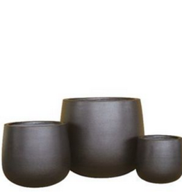"Large Black Ficonstone Bulb Planter H19.5"" D21.5"""