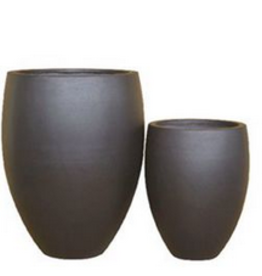 "Large Black Ficonstone Vase Planter H24.5"" D19"""