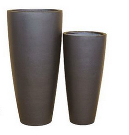 "Small Black Ficonstone Conical Planter H31.5"" D14.5"""