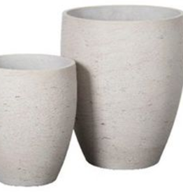"""Large Grey Washed Ro-cement Tall Vase Pot H17.5"""" D14"""""""