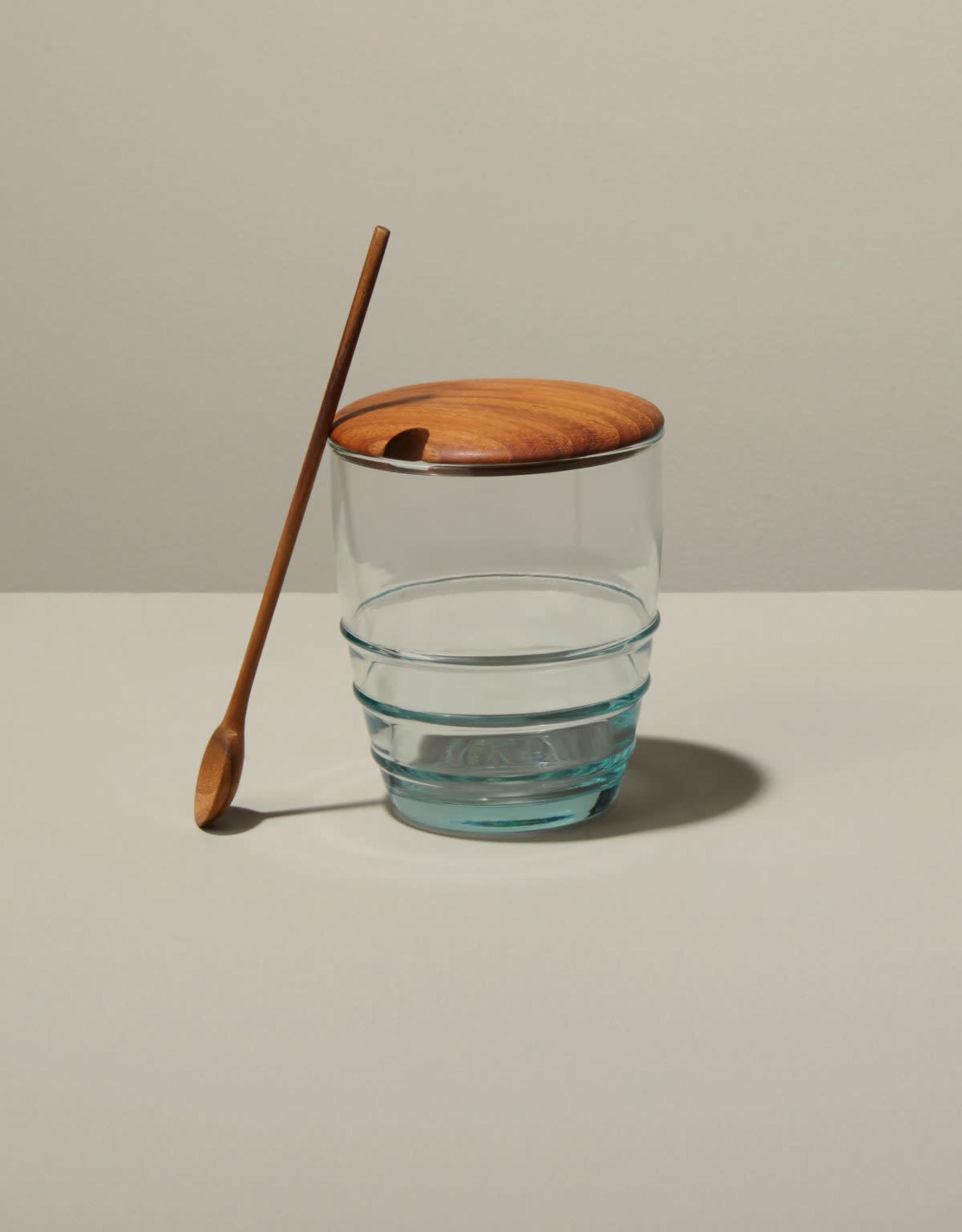 Recycled Glass Jar with Teak Spoon - Reg $33 Now $15