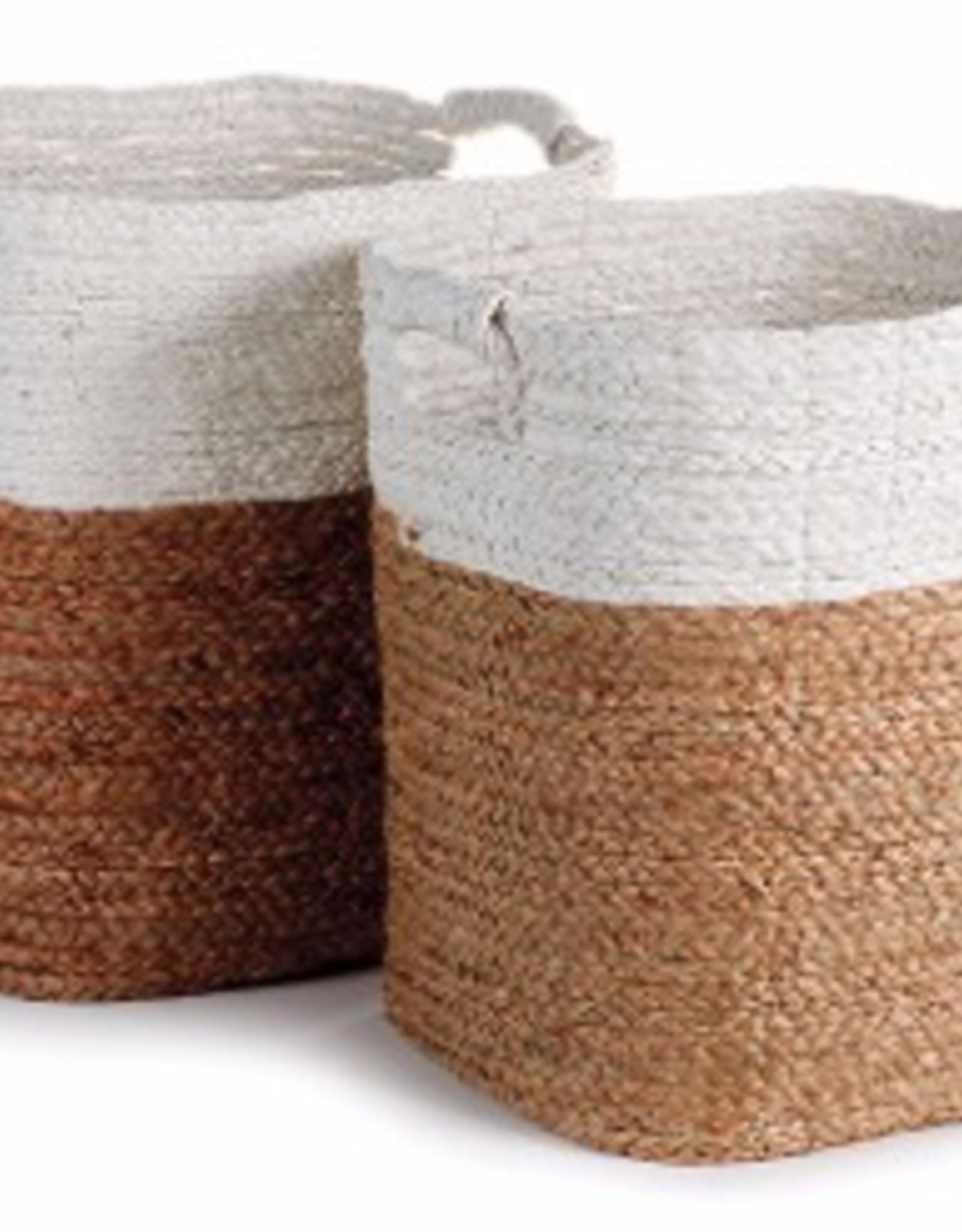 Large Natural & White Madura Basket