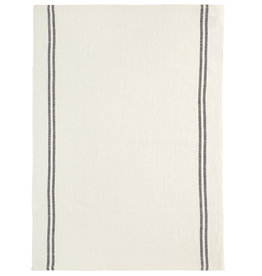 Country White with Black Stripe Washed Linen Tea Towel