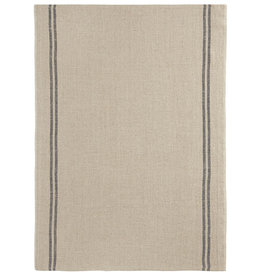 Country Natural with Black Stripe Washed Linen Tea Towel