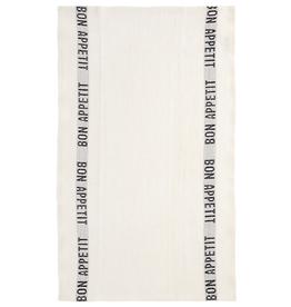 BON APPETIT White with Black Letters Linen Tea Towel
