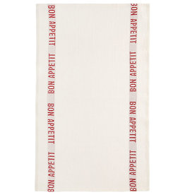 BON APPETIT White with Red Letters Linen Tea Towel