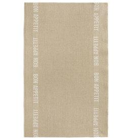 BON APPETIT Natural with White Letters Linen Tea Towel