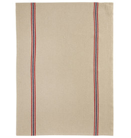 Drapeau Natural with Red & Navy Stripe Linen Tea Towel