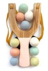 Peach Wood Slingshot with Pastel Rainbow Felt Balls