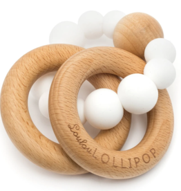Bubble Silicone& Wood Teether - White