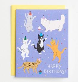Cat Birthday Party Card