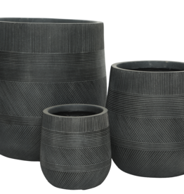 """Medium Charcoal Fibre Clay Planter with Pattern D11""""  H13"""""""
