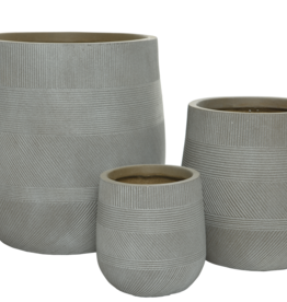 """Medium Taupe Fibre Clay Planter with Pattern D11""""  H13"""""""