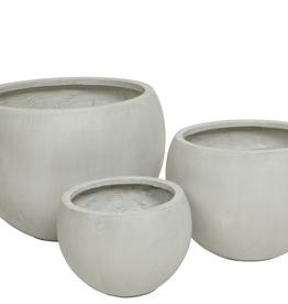 "Medium Off White Round Fibre Clay Planter D14.5"" H13"""