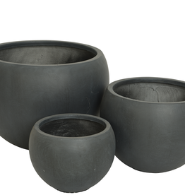 "Medium Black Round Fibre Clay Planter D14.5"" H13"""