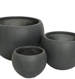 "Small Black Round Fibre Clay Planter D10.5"" H10"""