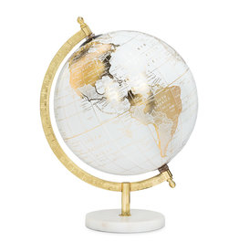"""White and Gold Globe on Stand 8""""D"""