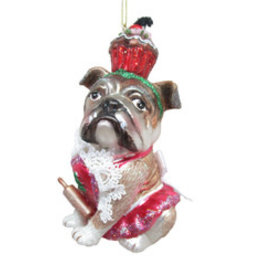 Boxer with Cupcake Ornament